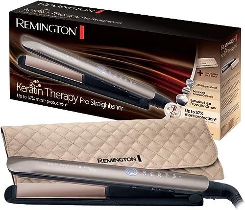 Remington Fer à Lisser, Lisseur, Plaques Advanced Ceramic, Chauffe Rapide, Lissage Professionnel, 5 Températures - S8...