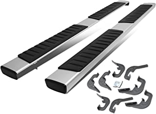 6 Inches Brushed Aluminum Side Step Nerf Bar Running Board Replacement for Chevy Silverado GMC Sierra Crew Cab 07-19