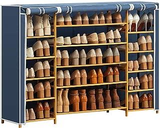 Xinxinchaoshi Indoor Shoe Organizer Shoe Rack Shoe Storage Organizer Cabinet Tower with Oxford Cloth Cover Entrance Shoe Sack (Color : Blue)