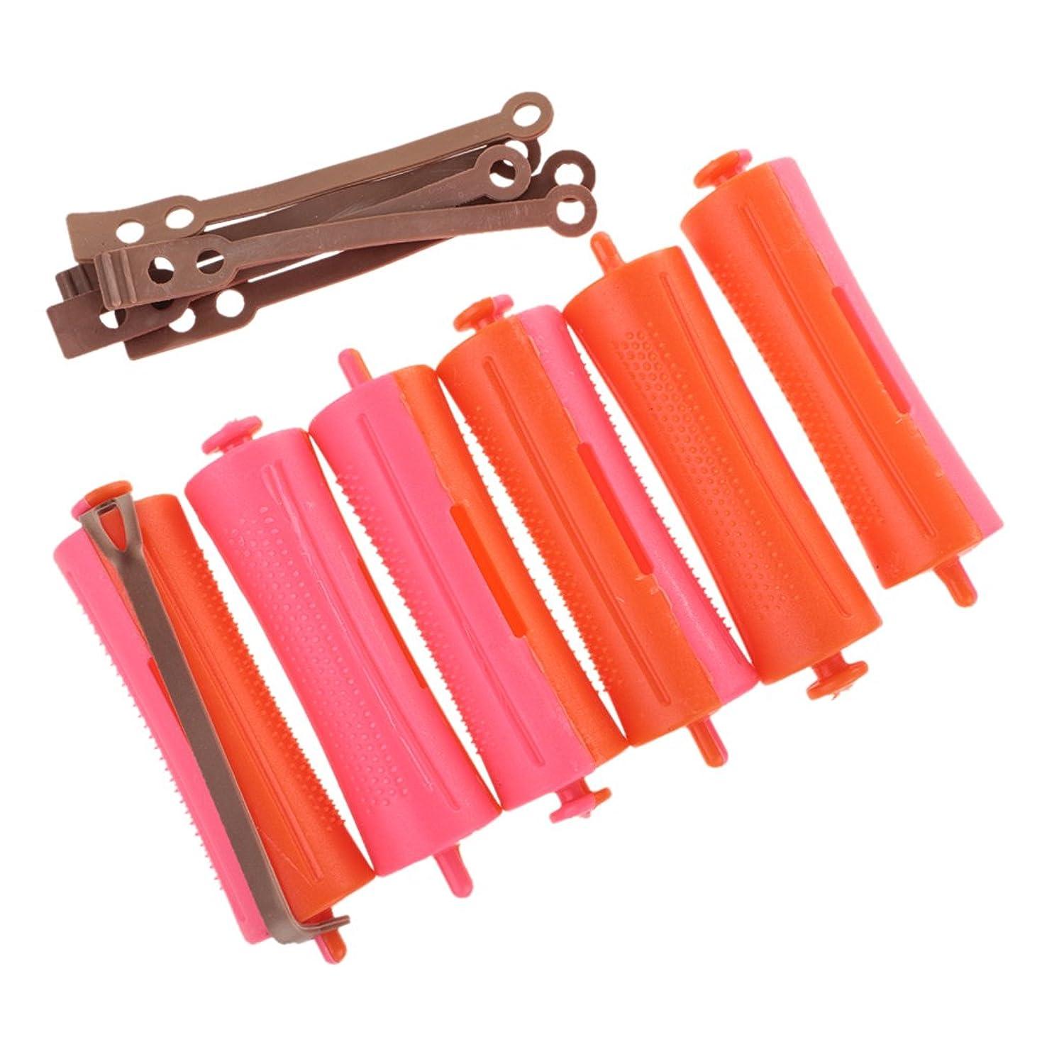 挑発する大腿賠償Kesoto ヘアカーラー ファッション ヘアローラー サロン 美容スタイリングツール オレンジ+ピンク 12ピース 2.4x9 Cm