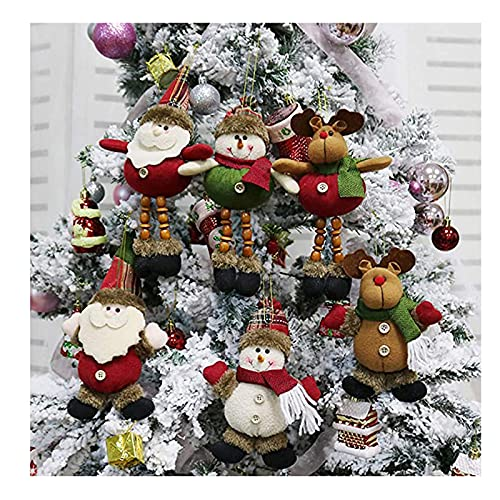 Ornamenti di peluche per albero di Natale,6 pacco natale decorazione a sospensione Santa Claus Snowman Renna per ornamenti da tavola Decorazioni per la casa,ciondolo albero di Natale da 8 pollici