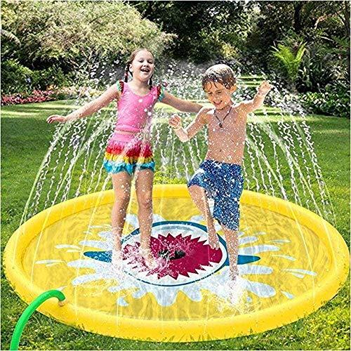 FANLIU Sprinkler Pad - Wasser-Spritzen-Spiel-Matte Pad Sommer im Freien/Garten/Strand Wasser-Spray/Sprinkle Mat Pool s Spiele for Kinder/Kinder/Kleinkind-Aktivitäten Yellow-67 Zoll, Größe: 6