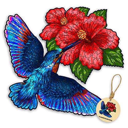 DEPLEE Wooden Puzzles for Adults Hummingbird Hibiscus Flowers Wooden Jigsaw Puzzles Unique Shape Wooden Animal Puzzle Creative Challenge for Kids,Adults,Family,Friend 154 Pcs–10.57 x 11.71 in- Medium