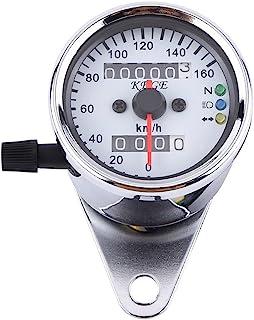 Motorrad Tacho Odometer LED Digital Moped Tachometer Messgerät Hintergrundbeleuchtung Signallicht Tachometer Geschwindigkeits Lehre 2 Farben ( Farbe : Sliber )
