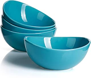 Sweese 103.107 Porcelain Bowls - 28 Ounce for Cereal, Salad and Desserts - Set of 4, Steel Blue