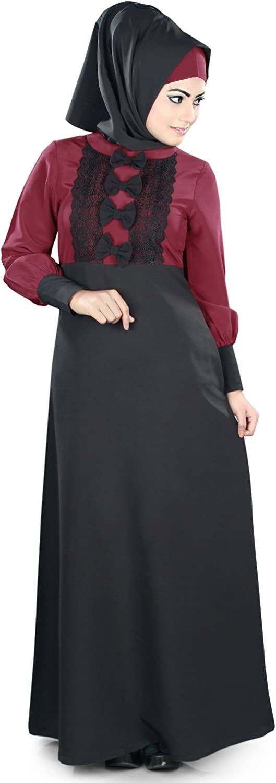 MyBatua Islamic Black & Maroon Occasion & Formal Wear Burqa Abaya Maxi AY378