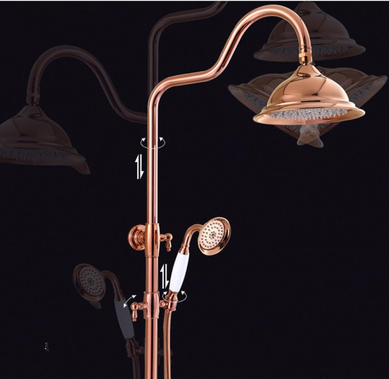 SHUAI Shower Set European Style pink gold Shower Set Bathroom Shower Copper gold Hot and Cold Shower Shower