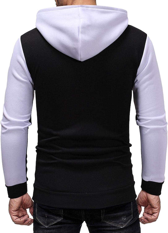 LEIYAN Mens Hoodie Pullover Casual Turtleneck Color Block Zip Up Cardigan Slim Fit Running Sweatshirt