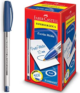 Caneta Esferográfica Trilux 032 Ponta Media 50 Unidades, Faber-Castell, Azul