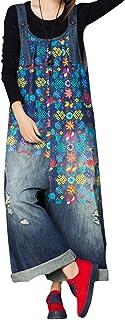 Pantalones para mujer holgados Dungarees Overol de algodón de mezclilla con bolsillos (LL35 Azul, L)