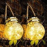 Lanterna Solare Esterno, 2 Pezzi 30 LED Lanterna Solare di vetro, Lanterna Sospensione Solare Impermeabile Decorativa, per Giardino, Terrazza, Gazebo, Esterni Interni Festa, Matrimonio (Bianco Caldo)