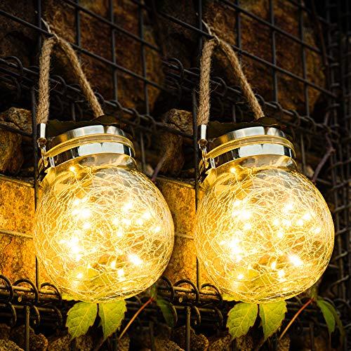 Lámparas solares para jardín, 30 LEDs tarro de albañil de luz solar,...