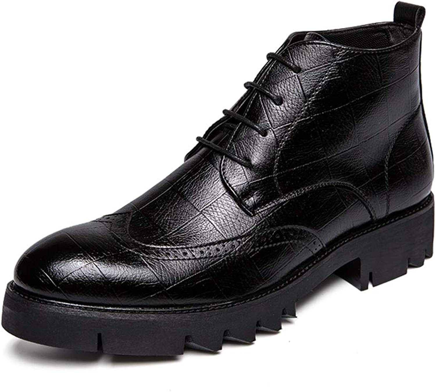 MUMUWU Men's Fashion Ankle Boots Casual Personality Checkered Texture Brogue Style High Top Semi Formal shoes (color   Black, Size   9.5 D(M) US)