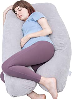 MOON PINE Pregnancy Pillow, U Shaped Full Body Pillow for Maternity Support, Sleeping Pillow with Velour Cover for Pregnant Women (Gray)