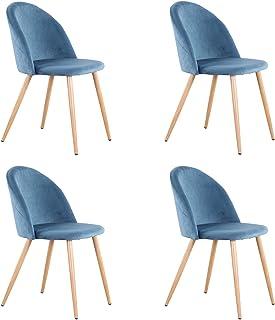 GrandCA HOME Chaise en Velours-Lot de 4 chaises de Salle à Manger, Convient pour Salle à Manger Salon Salon Chambre (Bleu-4)