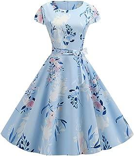 DISSA D3957 Women Retro Cocktail Swing Dress Round Neck Rockabilly Dress