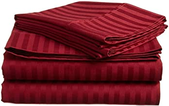 Fab Furnish R Dream's Burgundy 1000 Thread Count 4 Piece Sheet Set, 25 Inch Deep Pocket 100% Egyptian Cotton Bedding in Full Size Stripe