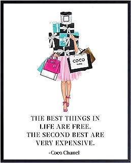 Glam Luxury Fashion Design Coco Quote - Couture Fashionista Wall Art Decor Poster Print - 8x10 Gift for Women, Bathroom, T...