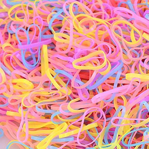 Haobase 1000 Stück Haargummis, Mini Elastische Haargummis bänder (Mehrfarbig)