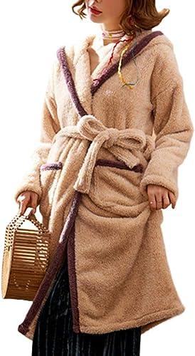 LIULIFE Robe De Chambre Hiver Flanelle Peignoir Chaud Capuche Chemise De Nuit Les Les dames épaissie Longue VêteHommests De Nuit