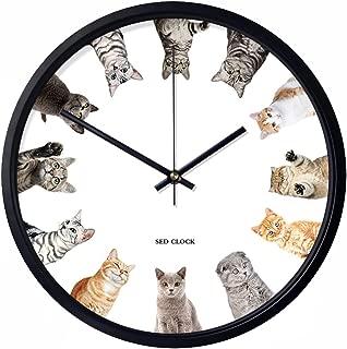 Chovy 掛け時計 壁掛け時計 北欧 アナログ シンプル おしゃれ かわいい サイレント 連続秒針 インテリア ネコ 猫 猫柄 ねこ かわいい 可愛い おもしろ 白 ホワイト 部屋装飾 子供部屋 プレゼント