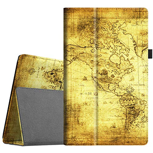 Fintie Folio Case for All-New Amazon Fire HD 10 Tablet (Compatible with 7th and 9th Generations, 2017 and 2019 Releases) - Premium PU Leather Slim Fit Stand Cover with Auto Wake/Sleep, Ancient Map