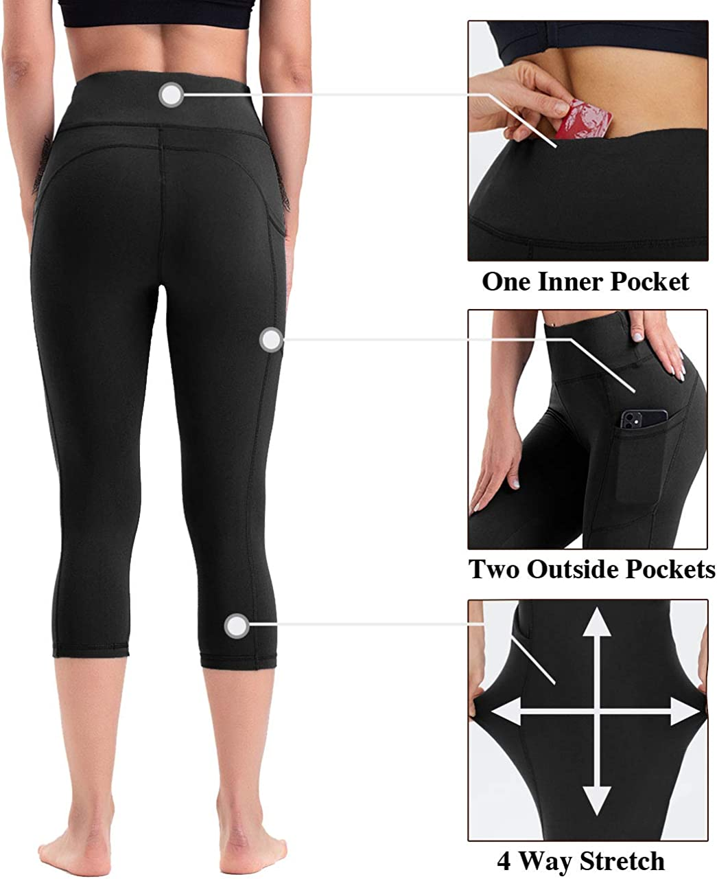 HLTPRO High Waist Yoga Pants for Women with Pockets Fitness Workout Athletic Soft Tummy Control Leggings for Running