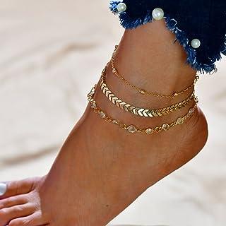 Joyería Edary Boho 3 Crystal tobilleras de oro en capas para el tobillo pulsera del grano accesorios del pie para mujeres ...