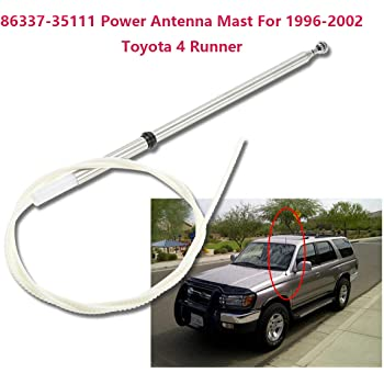 86337-35111 Power Antenna Mast For 1996-2002 Toyota 4 Runner,1998-2005 Toyota Hilux,1996-2002 Toyota Prado Power Aerial AM FM Radio Antenna Mast Replacement Cord Cable 12 Months Warranty