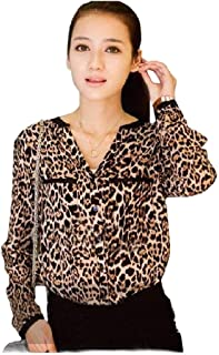 Howely Womens Leopard Printed Loose Chiffon Tops Blouse Long-Sleeve Shirts