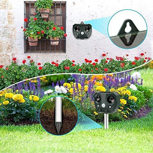 vonivi 2020 Katzenschreck Ultraschall Tiervertreiber Fuchsschreck Solar Wiederaufladbare Batteriebetriebene Katzenschreck Abwehr für Garten