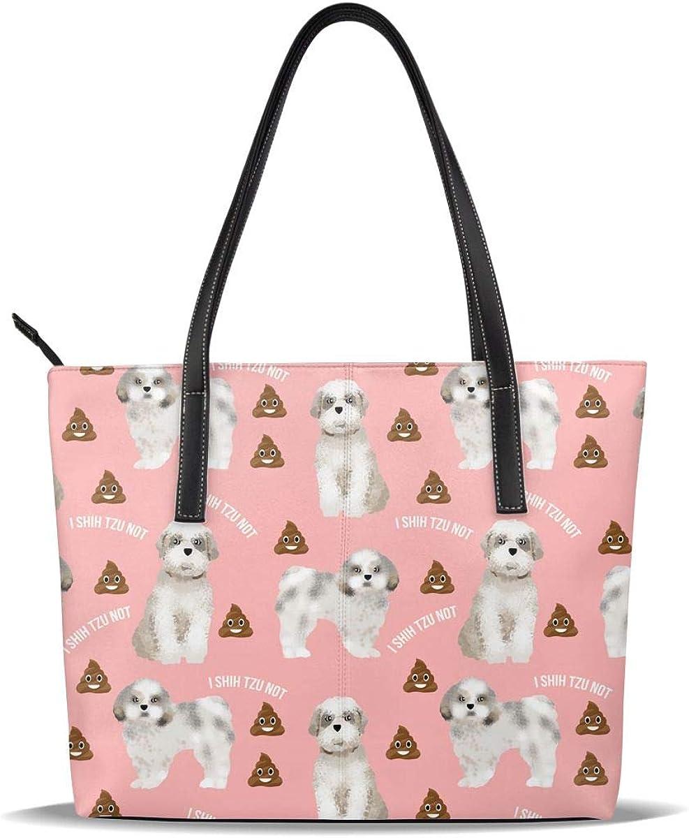 Shih Tzu Poop Pink White Nashville-Davidson Mall Dog Puppy Online limited product PU Pattern Ca Leather Printed