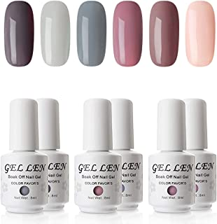 Gellen Gel Polish Set - Nude Gray Series 6 Colors Nail Art Gift Box, Soak Off UV Nail Gel Kit 8ml