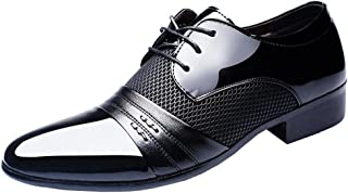 IDIFU Men's Breathable Low Top Pointed Toe Wingtip Lace Up Oxfords Shoes