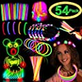 Glow Sticks Party Pack Supplies Glow In The Dark-50 Glowsticks Necklaces Bracelets Bulk 4 LED Light Up Flower Crowns Headpiece for Women Girls Neon Carnival Birthday July 4th Party Favors(54pack)