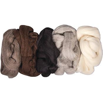 Rayher Reine Schurwolle-Kammzug, 5 Farben à 25g, 125g, Naturmischung, Wolle, 25 x 16 x 6 cm