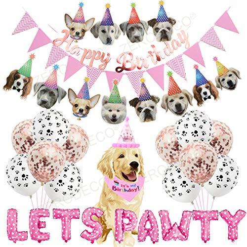 ZERODECO Hund Geburtstagsfeier Dekoration, Pink Lets Pawty Ballon Hund Geburtstag Bandana Schals mit niedlichen Geburtstagsfeier Hut Hund Banner für Haustier Hund Doggie Dog Party liefert Dekorationen