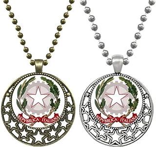Collana con ciondolo a forma di stella con simbolo nazionale, in stile retrò