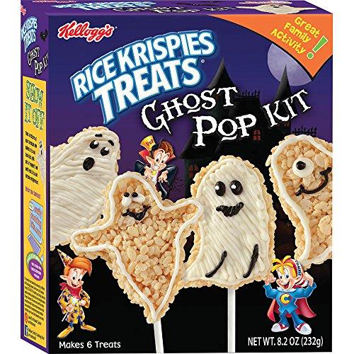 CRAFTY COOKING KITS Kellogg's Treats Ghost Pop Kit- Halloween Themed Snacks, Rice Krispies, 8.2 Oz