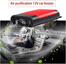 Younar Car Heater 12V Portable Fast Heating Quickly Cooling Fan Car Auto Defogger Defroster with Negative Ion Air Cleaner (Red)