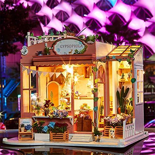 3D ensamblado Loft Handmade House DIY Dollhouse Kit con Movimiento Musical Mini Cabina para cumpleaños de Navidad Regalo de San Valentín
