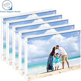 NZQXJXZ 5 Pack Acrylic Picture Frame 5x7, Clear Double Sided Acrylic Photo Frames with Photo Frame Support Stand, Frameless Desktop Display Retail Gift Box Package