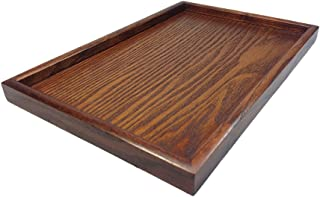 D DOLITY Vintage Japanese Wooden Serving Tray SPA Tea Food Dinner Brown Dish Plate-XL
