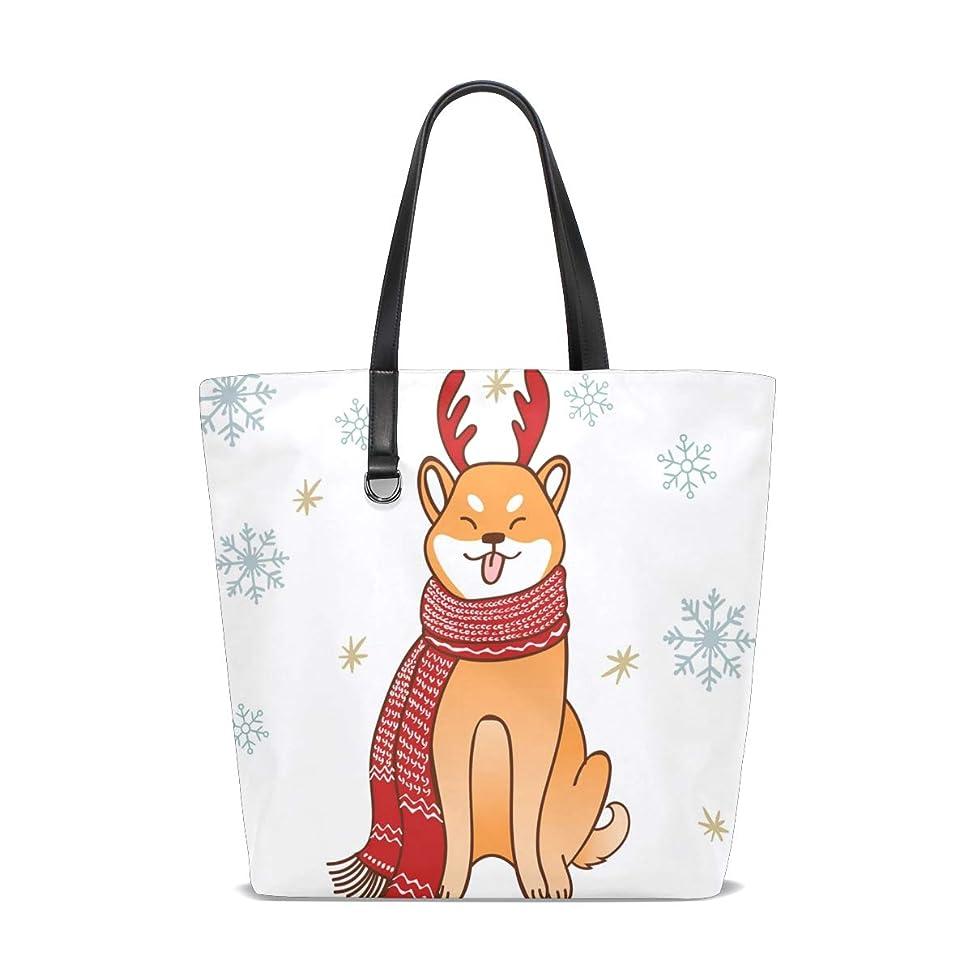 気づく相対的リレートートバッグ かばん ポリエステル+レザー 柴犬柄 可愛い 冬の雪片 両面使える 大容量 通勤通学 メンズ レディース
