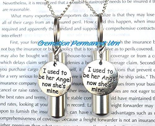 Collier avec pendentif « I used to be her Angel now she's mine », urne souvenir, pendentif en forme de cendres, pendentif « I used to be angel ».