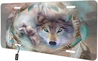 Beabes Cool Dream Catcher Wolf Front License Plate Cover,Blue Eyes Feather Tribal Design Tattoo Strong Animal Decorative License Plates for Car,Novelty Auto Car Tag Vanity Plates Gift 6x12 Inch