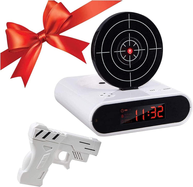 Despertador WTL Revestimiento de Alarma de Destino de la Novedad, Reloj de Disparo de Infrarrojos de Infrarrojos de Infrarrojos con Pistola Ajustable para niños y Adultos, Regalo de Juguete