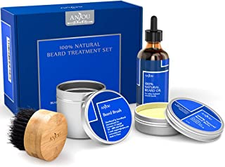 Beard Grooming Kit for Father's Day Gift, 1x Beard Oil, 1x Beard Balm and 1x Boar Bristle Beard Brush, 100% Pure, Natural for Men(Hair Repair and Growth - Vitamin E) from Anjou