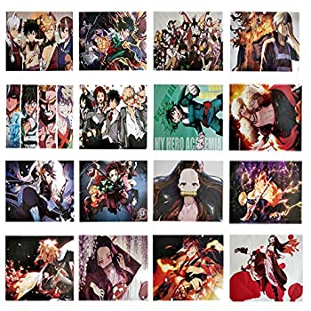 Anime Poster  16 Pcs 2 in 1  My Hero Academia poster 8Pcs  Demon Slayer poster 8Pcs  Large Size 16.6 *11.5 Inch