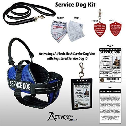 Activedogs Service Dog Kit - 2XL Blue Mesh Service Dog Vest Harness + Free Registered Service Dog ID + Clip-on Bridge Handle + ADA/Federal Law Cards + Travel Tag
